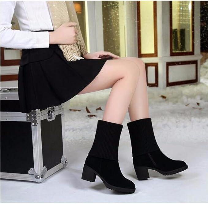 GTVERNH-In Autunno E In Inverno Spesso Anti-Skid Stivali Con Gli Stivali Matte Di Lana Nero Stivali Con Una Versione...