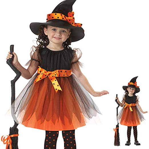 QLQGY Disfraz de Bruja de Halloween para niños Bruja Cosplay Chica ...