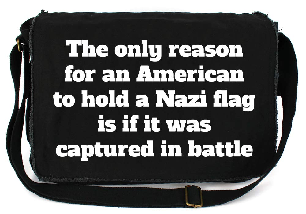 Tenacitee American Nazi Flag Flamingo Raw Edge Canvas Messenger Bag