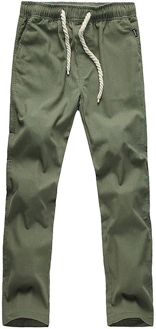 Huixin Pantaloni in Lino da Uomo Pantaloni Larghi Skinny Pantaloni per Il Tempo Libero Pantaloni con Coulisse Pantaloni Lunghi Aderenti