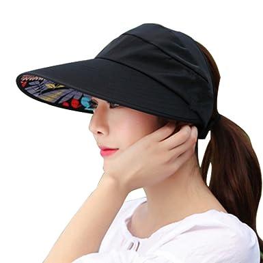 LQZ Wide Brim Sun Hats Summer Beach Visor Cap Anti-UV Sunhat for Women  (Black)  Amazon.in  Clothing   Accessories e89e7f4a691