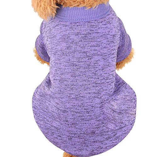 Farjing Clearance Pet Dog Sweater,Warm Puppy Sweater Fleece Sweater Clothes (S,Purple ()