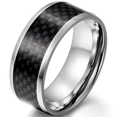 JewelryWe Joyas hombres del anillo 9mm de carbono negro de fibra de incrustaciones de compromiso de