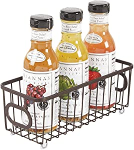 mDesign Metal Farmhouse Kitchen Pantry Food Storage Organizer Basket Bin - Wire Grid Design - for Cabinets, Cupboards, Shelves, Countertops, Closets, Bedroom, Bathroom, Small - Bronze