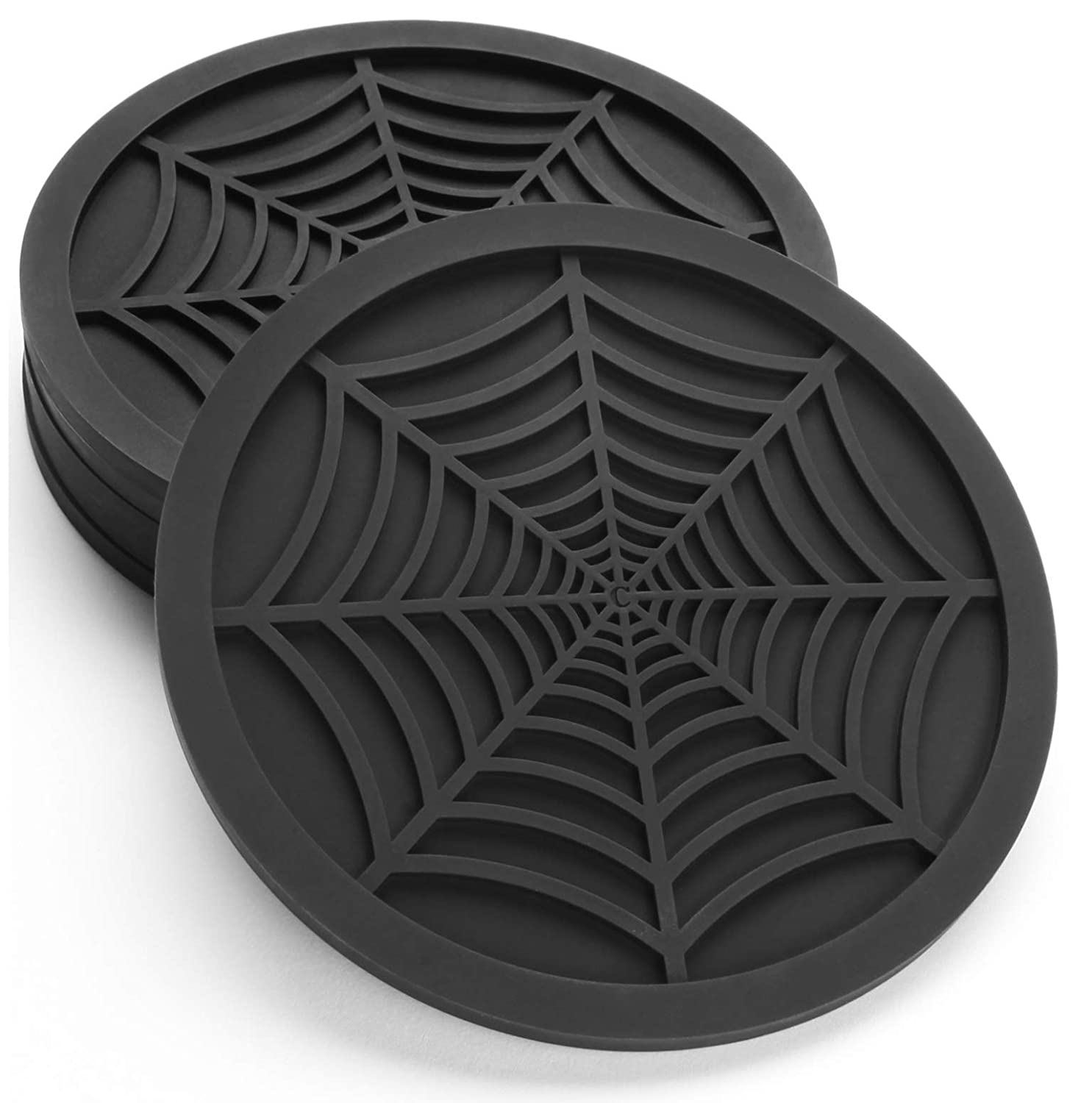 "Silicone Coasters For Drinks - 6 Pack Unique Design Spider Drink Coasters, 4"" Black Coaster Set by COASTERFIELD"