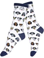 Women's Casual Fun Novelty Cotton Blend Dog Face Collection Print Crew Socks