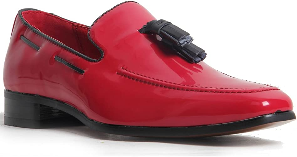 Men/'s Slip On Suede Leather Lined Western Heel Loafers Shoes Suede Red