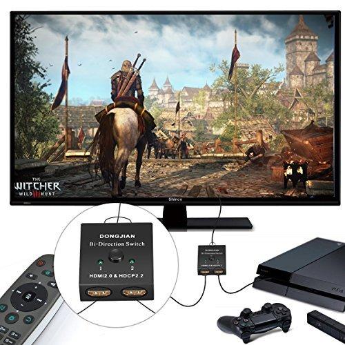 HDMI Switcher 2 Ports Bi-direction Manual Switch 1x2 or 2X1 HDMI Hub 4K Ultra HD, 1080P, 3D