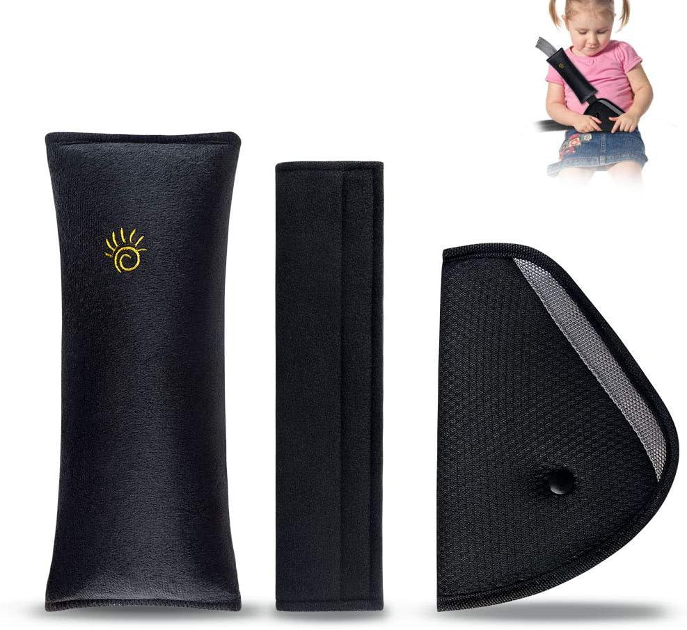 R/églables Pour prot/éger les /épaules et les appuie-t/êtes Lot de 4 coussins et ajusteurs de ceinture de s/écurit/é pour enfants Plus /épais et plus doux