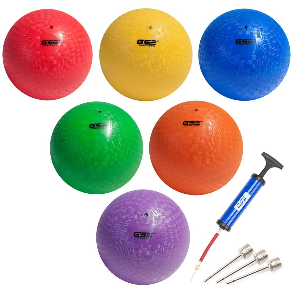 GSE Games & Sports Expert 8.5-inch Classic Inflatable Playground Balls (7 Colors Available) (6-Pack with Pump)