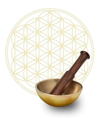 Cuenco tibetano de la flor de la Vida, cuenco con cojín + mazo en Juego – Original de la India, mazo de madera de teca