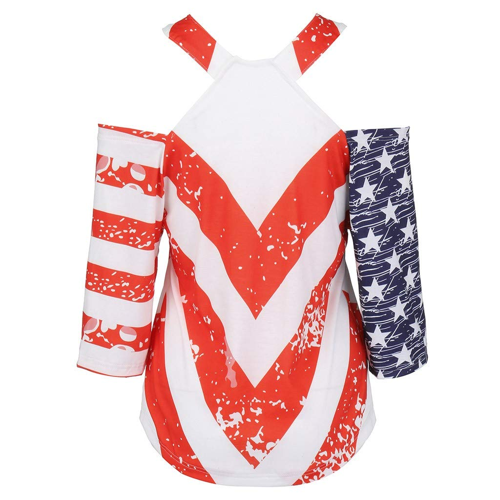Short Sleeve Tee Blouse for Women,Amiley Womens American USA Flag Stars Stripes Short Sleeve Top Printed Cut Out V-Neck Shirt (X-Large, Red) by Amiley Womens Short Sleeve Tops (Image #3)