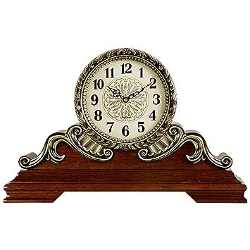Relojes de mesa para la Sala de Estar Decoración Habitaciones Vintage Escritorio Reloj Funciona con batería Analógico Retro Europeo Sin tictac Silencio ...