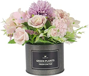 UIKKOT Artificial Flowers Pot European Style Design with Metal Vase Silk Rose Hydrangea Flower Arrangements Small Bonsai Centerpieces Decor House Office Restaurant Table (A-Purple)
