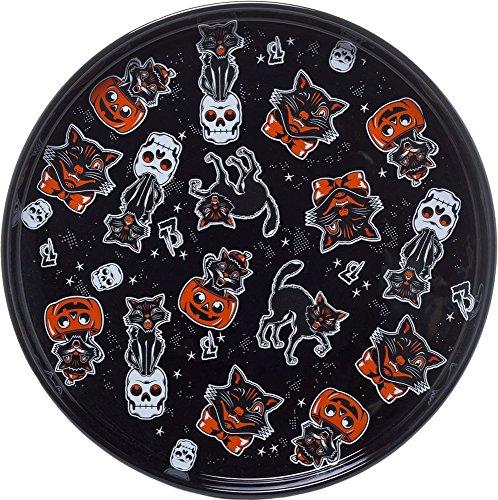 Black Cats, Pumpkins and Skulls Porcelain Plate - Sourpuss Brand -