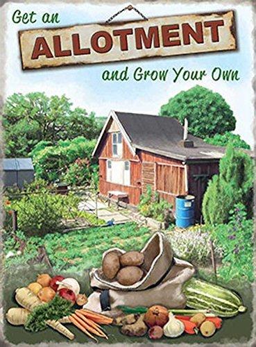 GET AN ALLOTMENT Tin Sign Gardeners Gifts Retro Tin Sign Grow