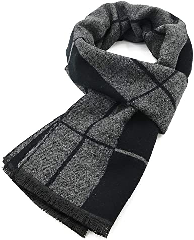 Durio Winter Scarfs for Men Warm Mens Scarf Winter and Fall Soft Long  Cotton Scarves for Cold Weather Black and Grey with Pinstripes at Amazon  Men's Clothing store