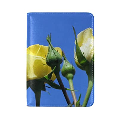 Roses Flowers Yellow Bud Sky Blue Leather Passport Holder Cover Case Travel One Pocket