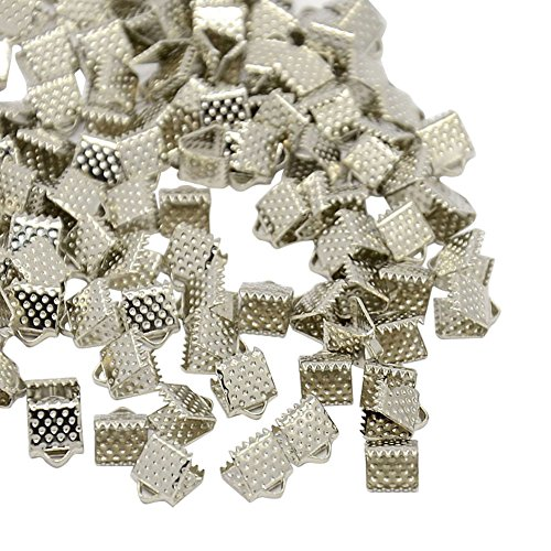 Beaded Lace Bookmark - NBEADS 2000Pcs Platinum Color Iron Ribbon Ends, Bracelet Bookmark Pinch Crimp Clamp End Findings Cord Ends Fasteners Clasp Leather Crimp Ends Jewelry Making Findings