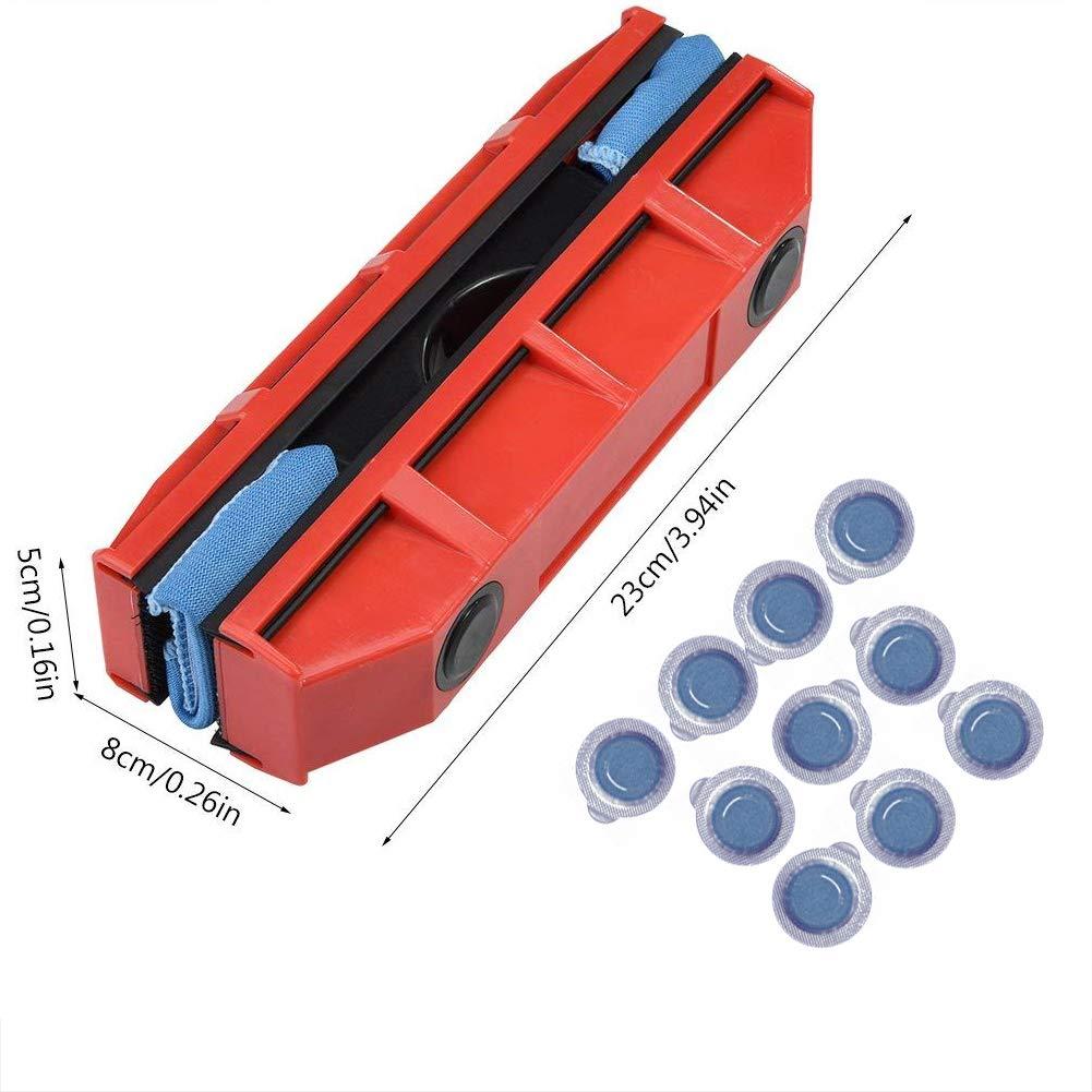 Simple vitrage Force de laimant r/églable de 3 /à 10 mm avec Chiffon dessuyage /à 2 pi/èces CATLXC Laveur de vitres magn/étique Nettoyage de vitres pour int/érieurs et ext/érieurs Rouge