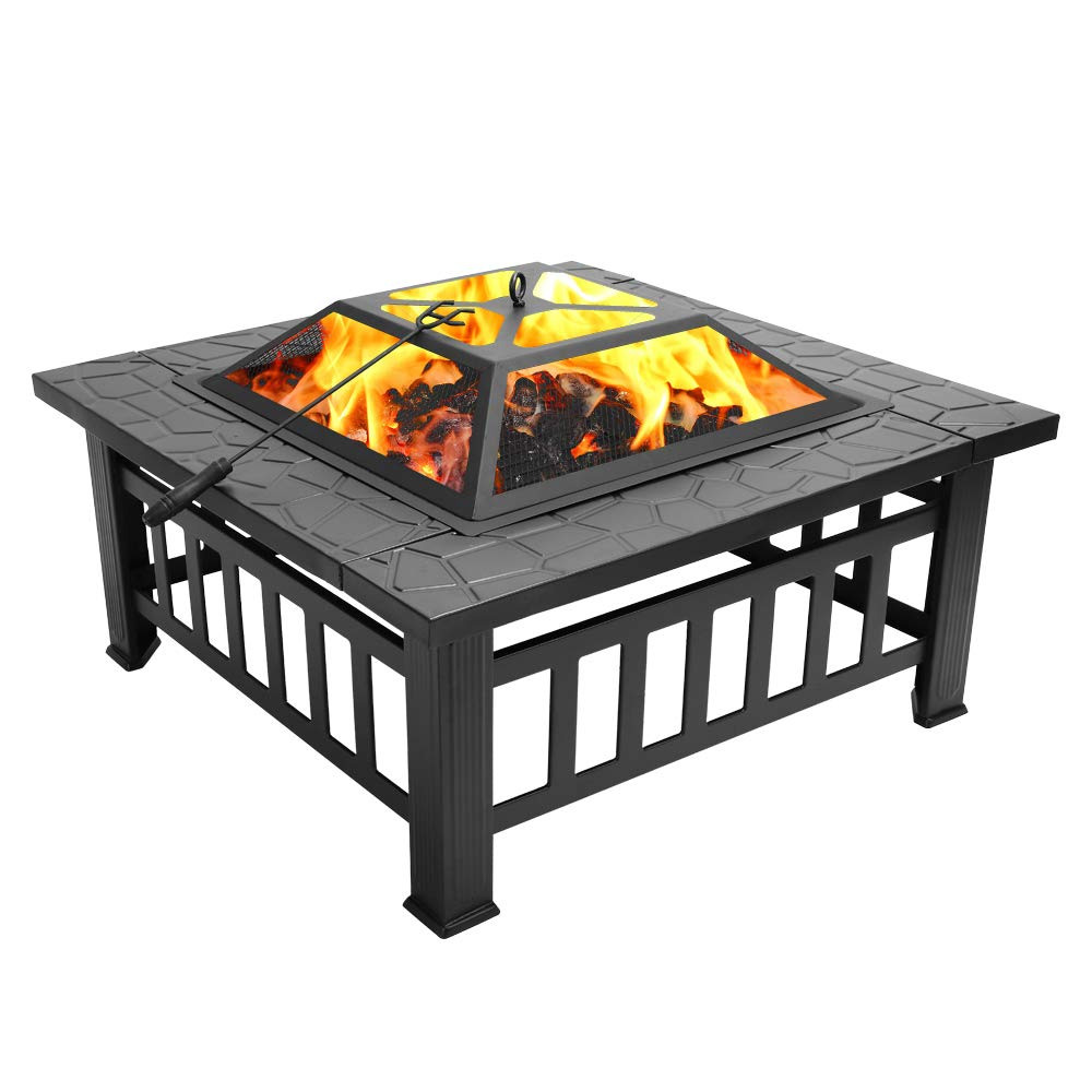 GlobalDeal Direct Metal Fire Pit with BBQ Grill,Metal Brazier Square Table Firepit Garden Patio Heater/BBQ/Ice Pit with Mesh Screen Lid(3 in 1 Fire Pit Square Table & Grill)