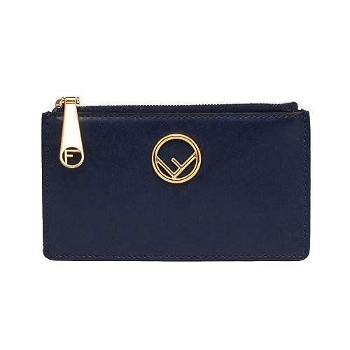 4b0591892cb7 Fendi Women's Leather Card Pouch Wallet Navy Blue: Amazon.ca: Shoes ...