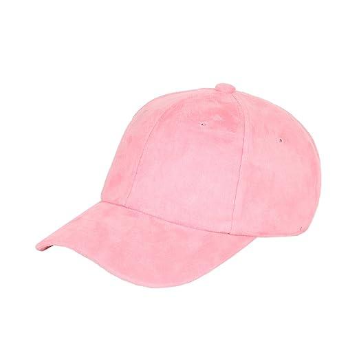52ed19bce 1611MAIN Suede Low Profile Plain Adjustable Strapback Baseball Dad Cap  (Pink)