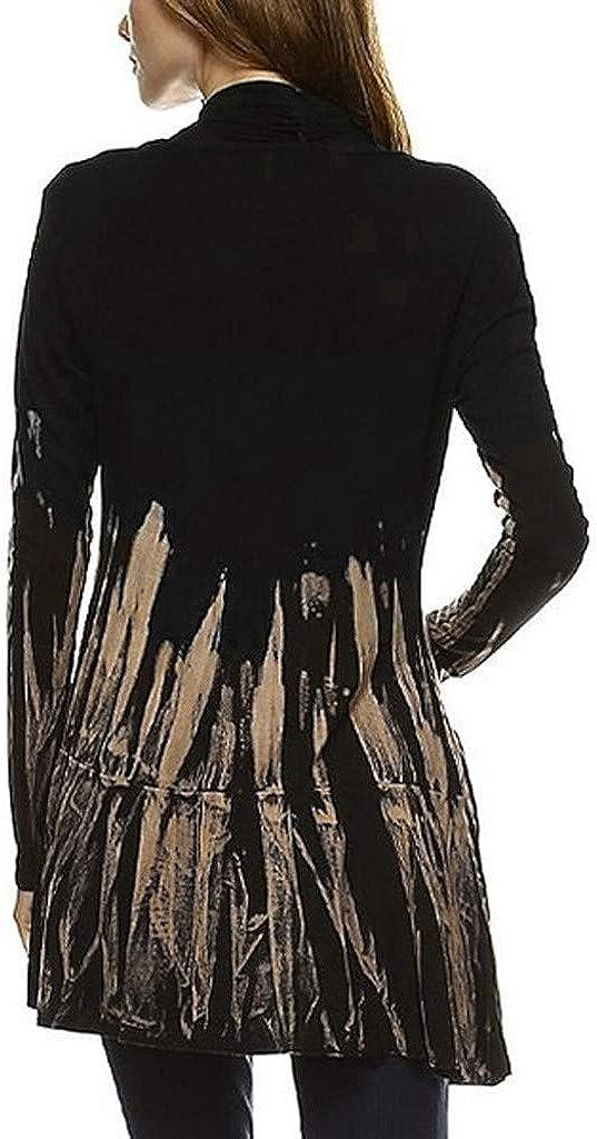 Yoyorule Casual Top /& Shirt Women Fashion Tie-Dye Hi-Low Open Cardigan Long Sleeve Asymmetric Top Blouse