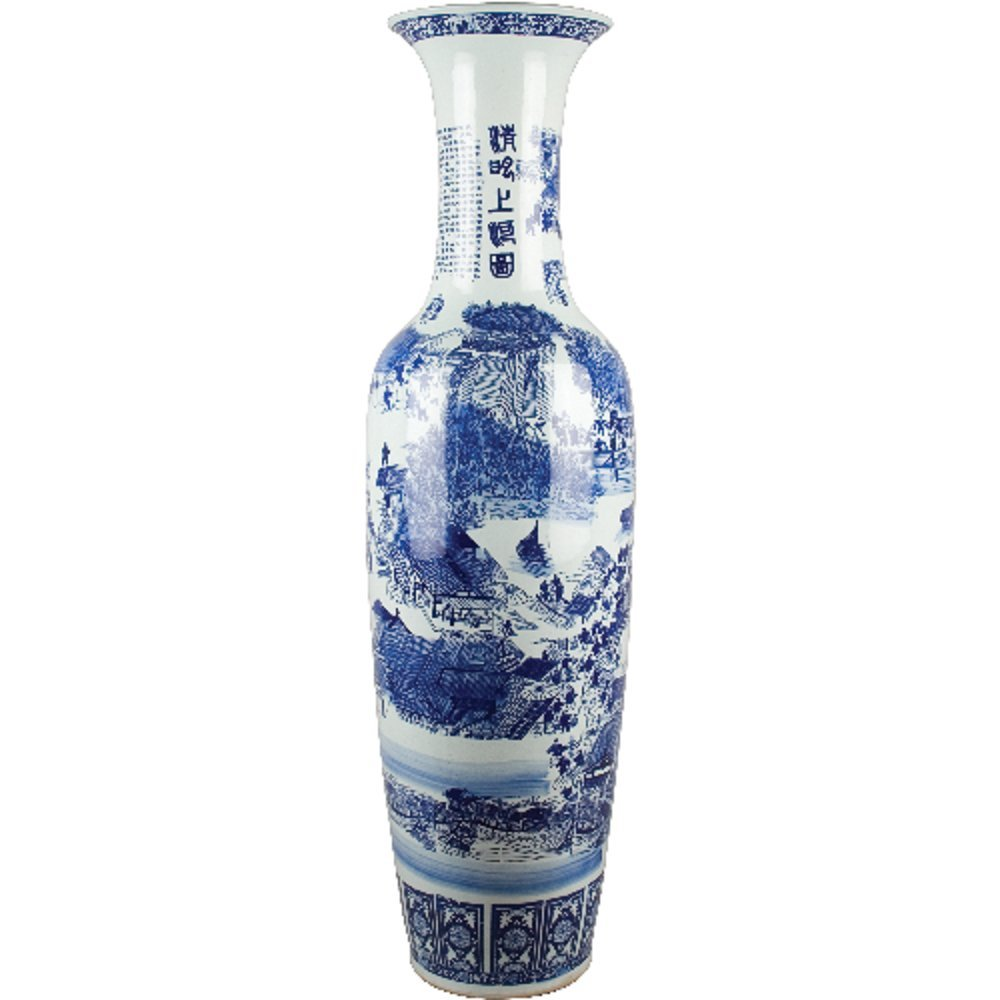 Home decor. Blue and White Oriental Vase. Dimension: 56 x 16. Pattern: Blue & White Classic.