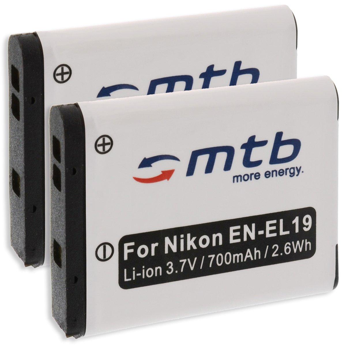 2x Baterí a EN-EL19 para Nikon S01, S100, S2500, S2550, S2600, S2700, S3100, S3300.... (ver descripció n) S3300.... (ver descripción) mtb more energy 2BAT-260