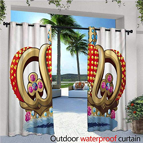 homehot King Exterior/Outside Curtains Royal Family Nobility Crown with Colorful Ornaments Image for Sovereign Print for Patio Light Block Heat Out Water Proof Drape W72 x L108 Red Blue and Golden