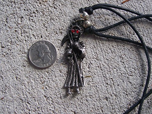 Metal Santa Muerte Grim Reaper Red Eyed Necklace - Mexico
