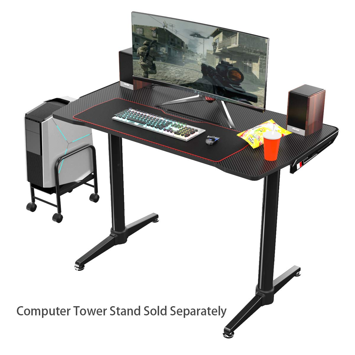 EUREKA ERGONOMIC I1 Gaming Desk 43.3 Home Office Computer PC Desk Gaming Tables Ergonomic Curve Design Desktop Cable Management for Men Boyfriend Female Gift