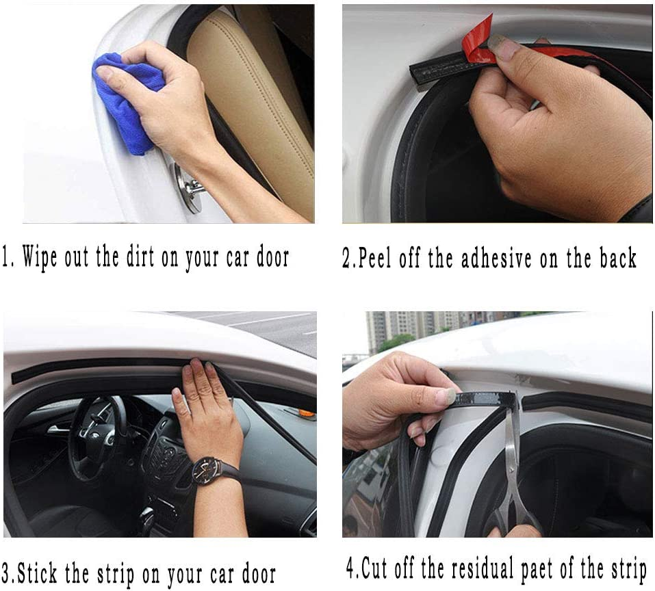 YUEMING 16M Car Door Seal Strip,B Type Self Adhesive Automotive Rubber Seal Protector Guard Strip,Car Protection Door Edge Fit for Most Car