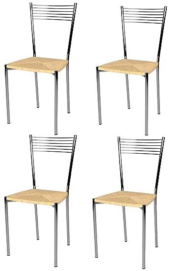Tommychairs Set 4 sedie Moderne e di Design Elegance per Cucina Bar salotti  e Sala da Pranzo, con Robusta Struttura in Acciaio Cromato e Seduta in ...