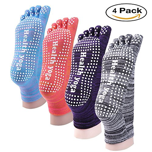 LEGERS Fashion Womens Anti Slip Yoga Socks, Bundle 4 Pairs Mix Color Feety Cotton Socks with Super Grippy No Slip Rubber Dots