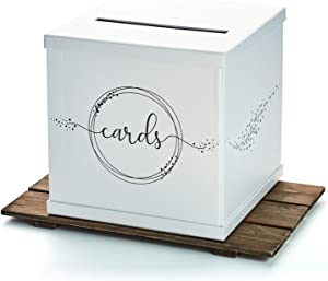 "Hayley Cherie - Silvery White Gift Card Box with Black Foil Printed Design- Textured Finish - Large Size 10"" x 10"" - Perfect for Weddings, Baby Showers, Birthdays, Graduation"