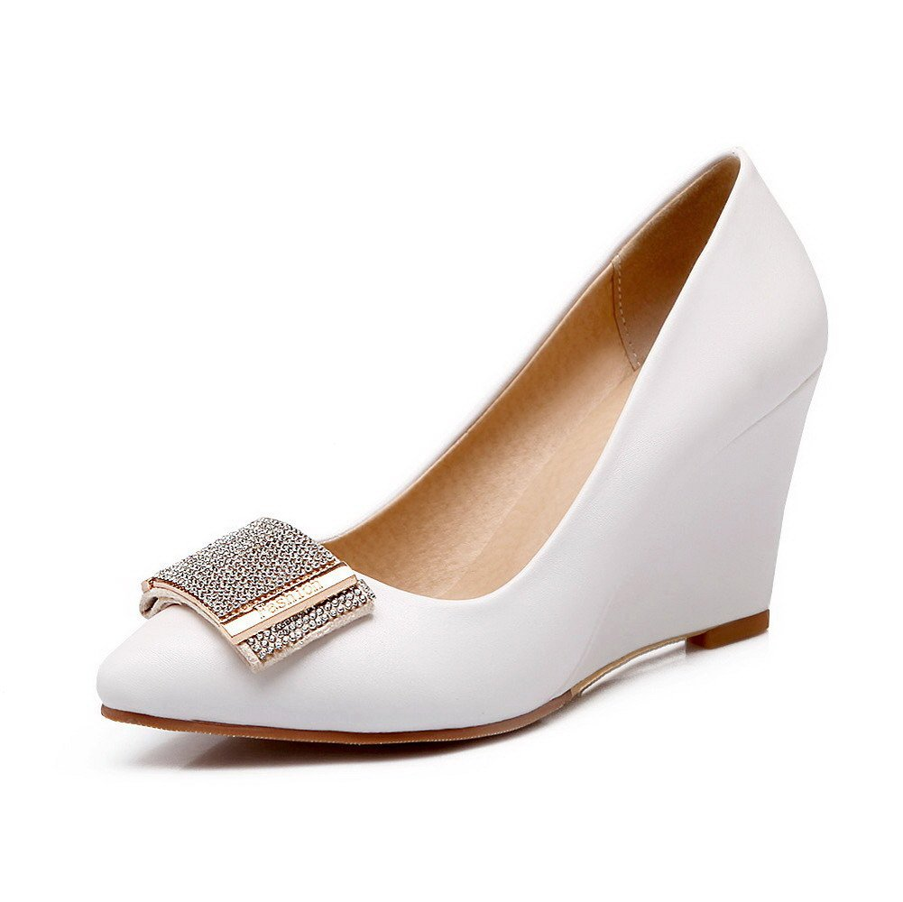 WeiPoot Women's Solid PU High-Heels Pointed Closed Toe Pull-on Pumps-Shoes, White, 41