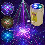 Mini DJ Party Light, Chims Laser Light Rechargeable Cordless RGB 30 Patterns Effect Gobo Projector Sound Activated Stage Lights for Disco Holiday Event Birthday Gift Outdoor Car Camping