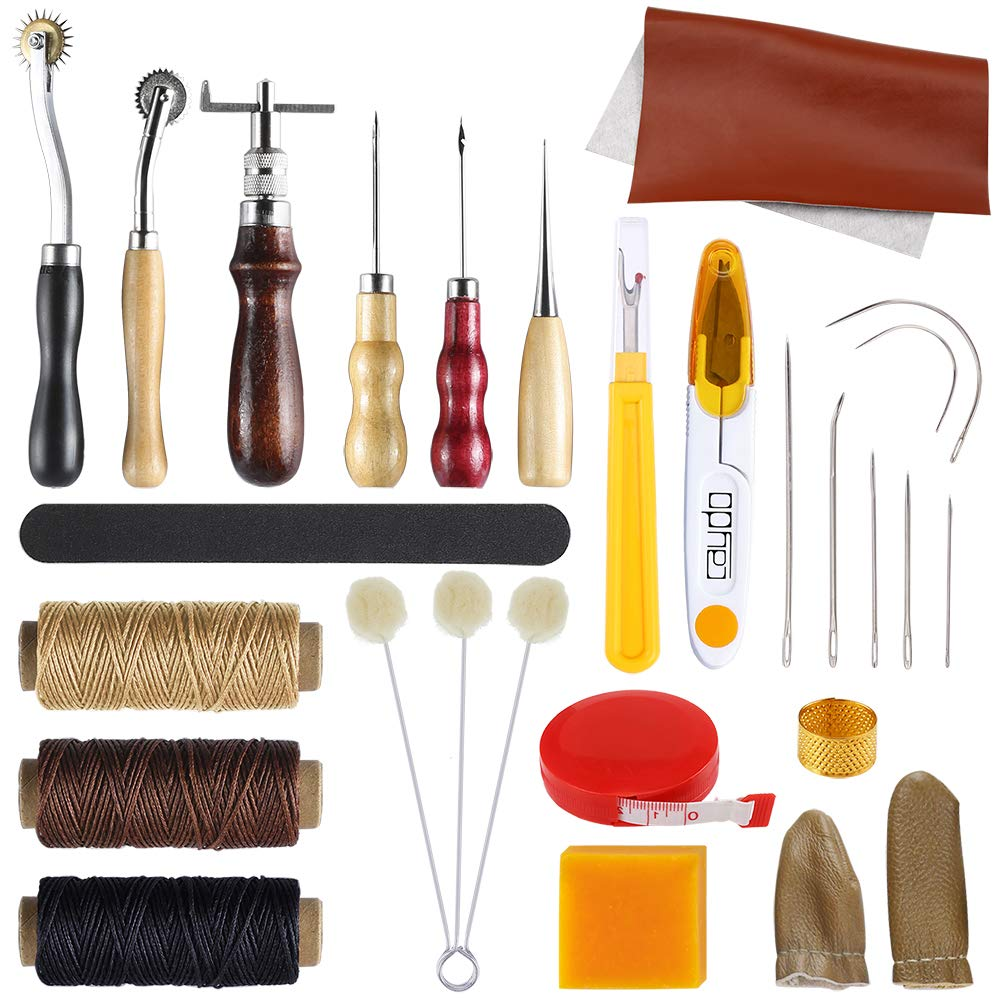 Caydo 26 Pieces Leather Craft Sewing Tools Kit Including Basic Hand Stitching Sewing Tools, Leather Sheet, Groover, Awl, Wax, Thimble, Thread for Leather Fabric Craft