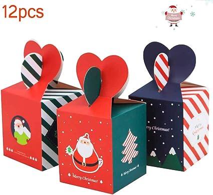 12 piezas cajas regalo Navidad, cajas dulces corazón, caja víspera ...
