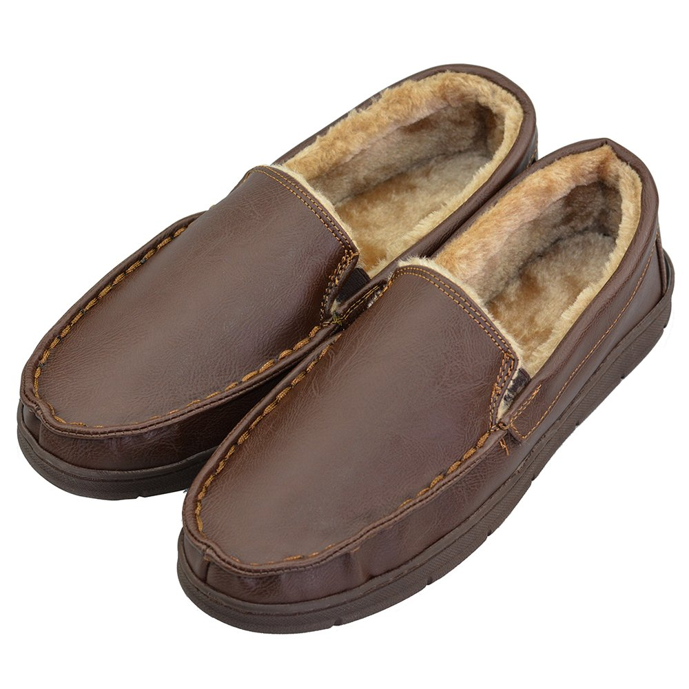 VLLY Men's Thick Lined Microsuede Bedroom Outdoor Slip On Moccasin Slippers US 13 Brown (FBA)