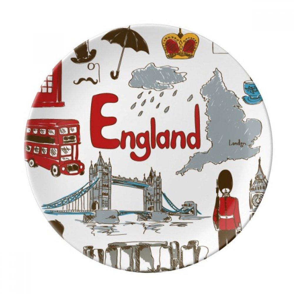 England Landscap Animals National Flag Dessert Plate Decorative Porcelain 8 inch Dinner Home