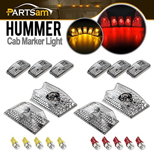 - Partsam 10pcs 264160CL Clear Lens Cab Marker Roof Running Top Lights Whole Assembly Set w/(5xRed+5xAmber) T10 194 168 W5W 5-5050-SMD LED Bulbs Compatible with Hummer H2 SUV SUT 2003-2009