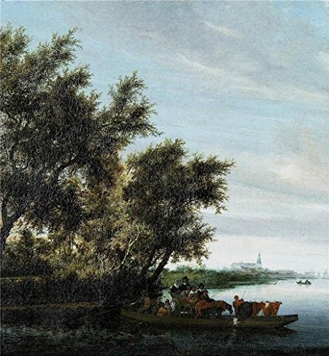 High Quality Polyster Canvas ,the High Resolution Art Decorative Canvas Prints Of Oil Painting 'Salomon Ruysdael,Ferry-Boat,1602-1670', 16x17 Inch / 41x44 Cm Is Best For Basement Decoration And Home Gallery Art And Gifts