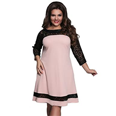 a81a94ecfa DD UP Women s Plus Size Classic Round Neck 3 4 Sleeves Lace Bodycon Dress  Skirt