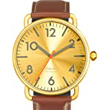 "Projects Watches (Michael Graves) ""Witherspoon Brass"" Acier IP Laiton Cuir Brun Montre Homme"