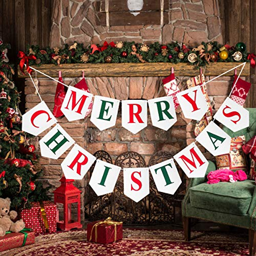 Merry Christmas Banner - Felt Fabric White Christmas Decorations Garland Gift, Indoor Outdoor Rustic Party Decor for Holiday Fireplace Mantel Tree Window Wall Hanging, Xmas Home Ornament Bunting Sign ()