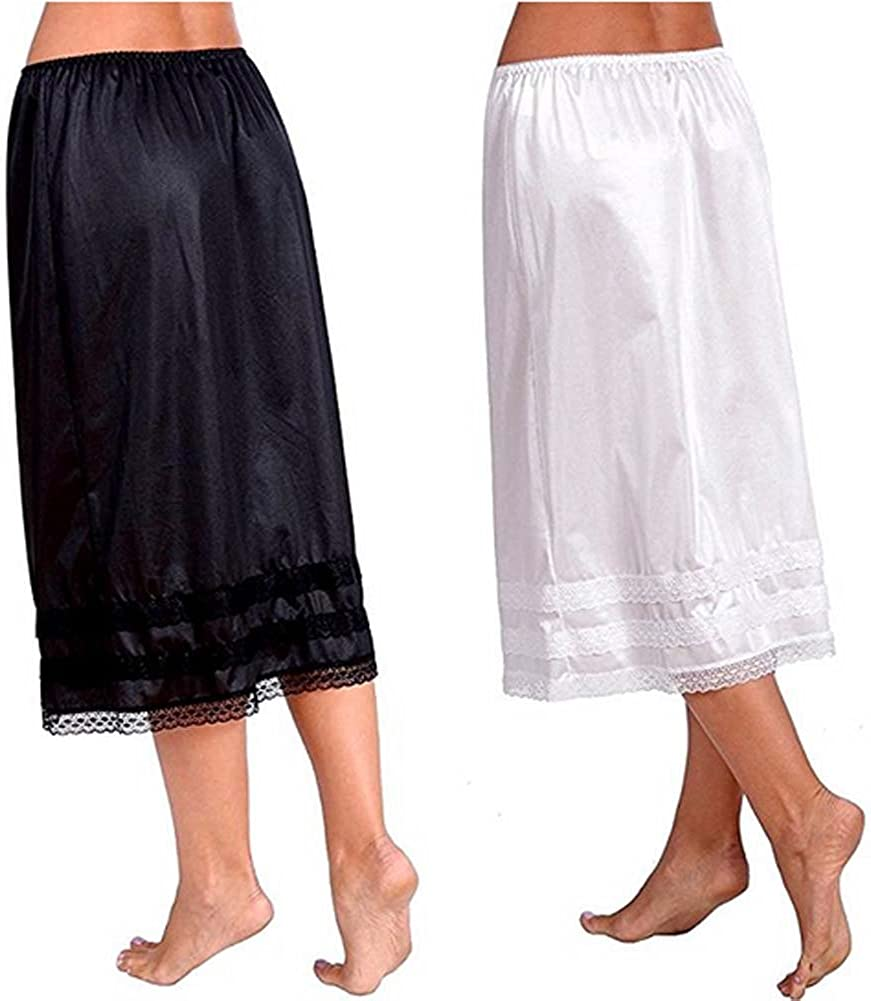 Women/'s Solid Smooth Lace Trim Half Skirt Slip Underskirt/ L-XXXL