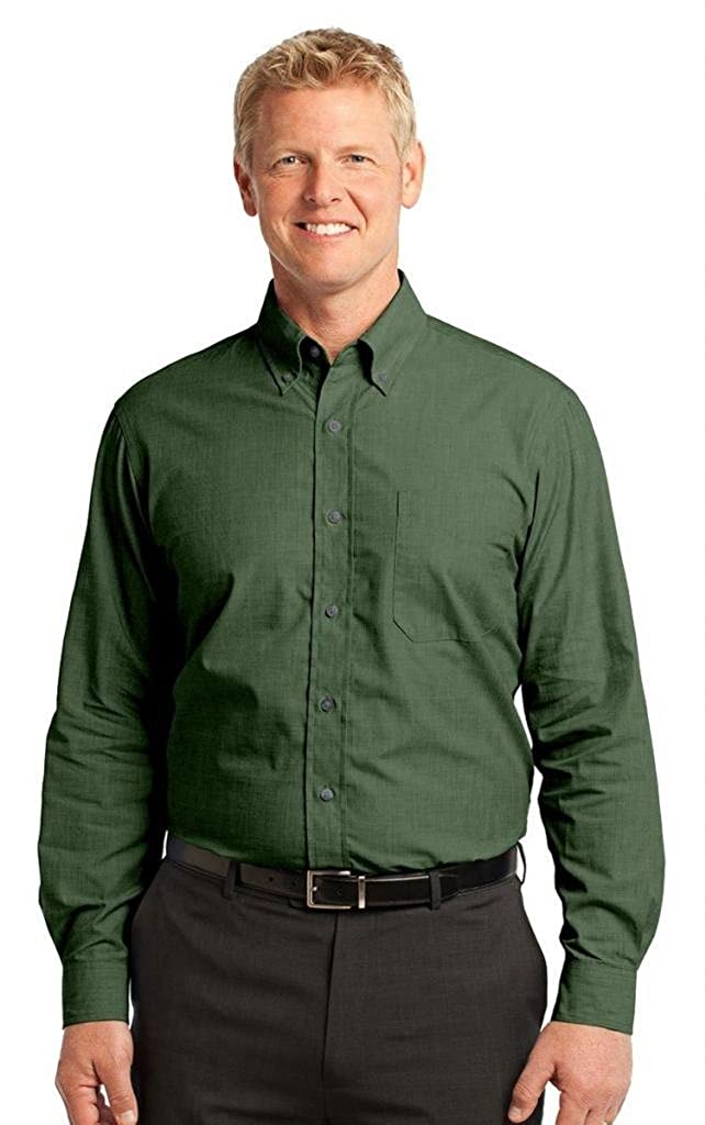 Dark Cactus Green Port Authority Crosshatch Easy Care Shirt-L